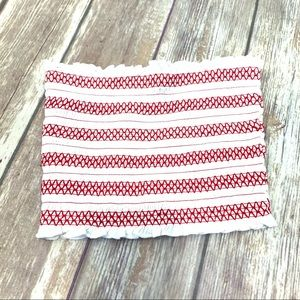 Forever 21 Red & White Smocked knit tube top S NWT